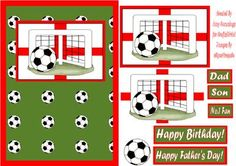 England World Cup Male Card Front on Craftsuprint designed by Amy Cummings - Football themed card with world cup in mind.Image with sections to decoupage, choice of sentiments and ball to add as decoration - Now available for download!