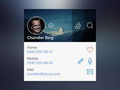 Sneak Peak for Upcoming UI Widgets Set [Contact Widget] Mobile Ui Design, User Profile, Ui Design Inspiration, Ui Ux, Web Design, Design Web, Website Designs, Design Websites, Profile