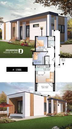tiny house plan, 2 to 3 bedrooms, 9 ceiling, ideal for vegetable garden rooftop Modern Tiny House, Small House Design, Small House Plans, Modern House Design, House Floor Plans, Ideal House, Flying Spaces, Town Country Haus, Drummond House Plans