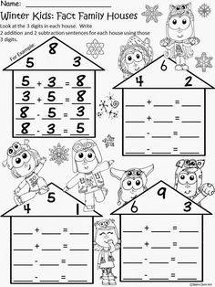 Flash Freebie for blog and TPT followers!  Winter Kids Fact Family Houses for Differentiated Instruction.Enjoy! Regina Davis aka Queen Chaos at Fairy Tales And Fiction By 2.