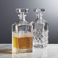 Brixton Decanter - Crate and Barrel Liquor Glasses, Whiskey Glasses, Alcohol Bottles, Perfume Bottles, Whisky Bar, Whiskey Decanter, Wine And Beer, Glass Design, Carafe