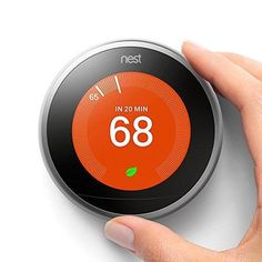 Brand: GoogleColor: Stainless SteelFeatures: Auto-Schedule: No more confusing programming. It learns the temperatures you like and programs itself. Wi-Fi Thermostat: Connect the Nest Thermostat to Wi-Fi to change the temperature from your phone, tablet or laptop. Works with 95% of 24-Volt heating and cooling systems, including gas, electric, forced air, heat pump, radiant, oil, hot water, solar and geothermal Energy Saving: You'll see the Nest Leaf when you choose a temperature that saves energy Nest Thermostat, Gadgets For Dad, Gas Bill, Utility Bill, Secret Storage, Security Tips, Alexa Device, Saving Money, Vinyls