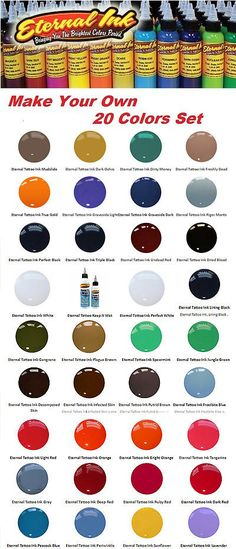 Tattoo Inks: Eternal Ink Create Your Set Of 20 Tattoo Colors And Get 1 Free 1/2 Oz 15 Ml Usa -> BUY IT NOW ONLY: $139.99 on eBay!