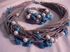 Collier & bracelet lin nature eco magnetic clasp perle natural turquoise noeuds fet a main Style Mediterranéen