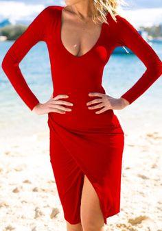 Red Plain Irregular Scoop Neck Sexy Knit Midi Dress
