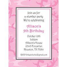 invite Pink Camo Birthday, Pink Camo Party, 9th Birthday, Birthday Parties, Slumber Parties, Birthday Party Invitations, Rsvp, Invite, Shower Ideas