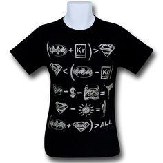 Batman Superman Hero Equations T-Shirt