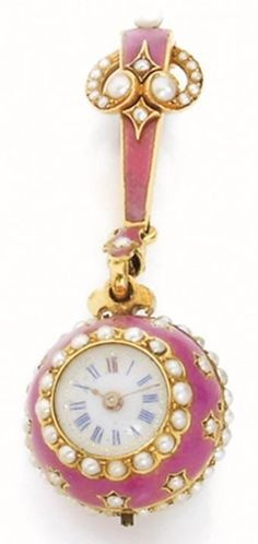 Swiss A century pendant watch, Geneva. Yellow gold, enamel and seed pearls. Amazing Watches, Beautiful Watches, Antique Watches, Vintage Watches, Pearl Embroidery, Art Deco Period, Clocks, Pocket Watch, Antique Jewelry