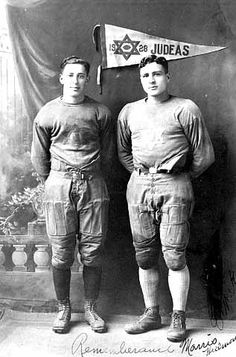 Morris Hillman and Ernie Kaplan, members of the Judeas, a football team sponsored by the Emanuel Cohen Center, Minneapolis (c. 1928).