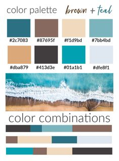 brown and teal color palette with color codes - Color Amazing Designs Teal Color Schemes, House Color Schemes, Living Room Color Schemes, Living Room Colors, Decorating Color Schemes, Apartment Color Schemes, Color Schemes Design, Teal Colors, Coastal Color Palettes