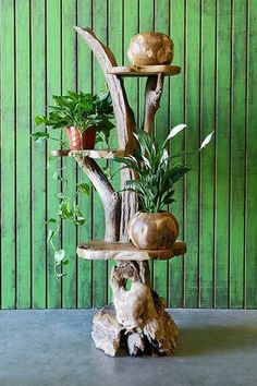 Harini Driftwood Stand with 3 Teak Shelves - Om Gallery