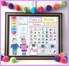 Free DIY Children's Calendar printables available in English, Spanish and French! This calendar is a great learning tool to use with children daily and a fun way to learn about the weather, days of the week and plan out your day! Toddler Calendar, Preschool Calendar, Calendar Time, Diy Calendar, 2021 Calendar, Calendar Design, Wall Calendars, Printable Calendar Pages, Christmas Activities