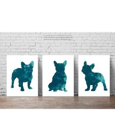 Verdigris French Bulldog Print Dark Turquoise by ColorWatercolor
