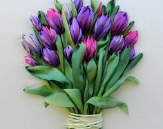 Bouquet of tulips, silk ribbon embroidery