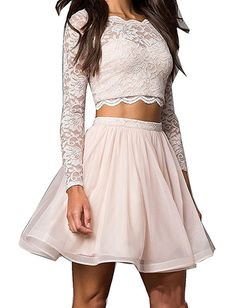 online shopping for BessDress Lace Two Piece Short Homecoming Dresses With Sleeves Ball Gown from top store. See new offer for BessDress Lace Two Piece Short Homecoming Dresses With Sleeves Ball Gown Homecoming Dresses Sleeves, Grad Dresses Short, Two Piece Homecoming Dress, Prom Dresses 2017, Dance Dresses, Short Prom, Summer Dresses, Wedding Dresses, Bridesmaid Dresses