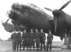 "In front of No. 625 Squadron, RAF Lancaster CF-U2 ""We're Take Anything""  L-R: Fuoco (M/U); Serienko (R/G); Reay (W/O); Greensdale (P); Faloon (B/A); Hallgren (N); Wharton (F/E"