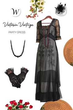 Soft tulle, supple lining, and elaborate soutache embroidery make this Victoria Vintage Style Party Gown in Black by Nataya the best titanic Dress yet. Wear it as the mother of the Bride or Groom, to a Garden Party, To a Vintage Themed Gala, or around the house with flip flops. Wherever your chosen event happens to be, rest assured you will be comfortable, and looking fabulous.