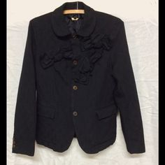 Avant garde Comme des Garçon blazer with bows M The bows are woven in, tiny brocade fabric size M, NWOT, made in Japan, luckily they have the tags translated, really interesting but utilitarian..we all need a black jacket/ blazer!! Comme des Garcons Jackets & Coats Blazers