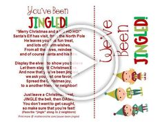 Elf your neighbors with a treat and this fun Youve Been Jingled printable. Includes a door tag version for hanging the elves on your door Diy Christmas Gifts For Family, Christmas Decorations To Make, Christmas Crafts, Elf Yourself, Door Tags, The Elf, Clever Diy, Elves, Diy Tutorial