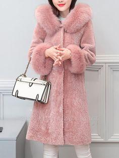 Hoodie Paneled Casual Shift Fur And Shearling Coats Warm Outfits, Chic Outfits, Shearling Coat, Fur Coat, Girls Winter Coats, Stylish Coat, Hooded Parka, Coats For Women, Casual
