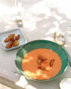 Traditional Gazpacho - Martha Stewart Recipes - just made this! added the juice from one lime, an 8th of a cup of cilantro, more red wine vinegar and traded out the sherry and added in balsamic, gave it more of a tangy flavor