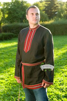 Russian traditional linen shirt Elisey, Kosovorotka shirt, Men shirt, Slavic…