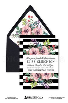 BLACK & WHITE STRIPE Bridal Shower Invitation with rainbow pink watercolor anemone flower blooms and sprigs.  Also available as wedding invitations baby shower invitations even modern boho chic anniversary invitations!  With Kate Spade inspired bold black stripes and available matching envelope liner.  Only at digibuddha.com
