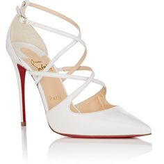 Christian Louboutin Women's Crossfliketa Leather Pumps (2,900 PEN) ❤ liked on Polyvore featuring shoes, pumps, shiny leather shoes, red sole pumps, pointed toe high heel pumps, christian louboutin shoes and pointy-toe pumps