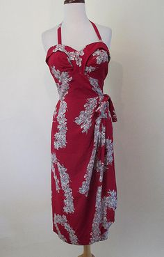 Killer 1940's Hawaiian Rayon Print Sarong Dress curve hugging party dress pinup…