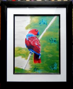 PARROT Framed with White Matte of Acrylic Painting Parrot Wildlife Birds Reds Greens Blues Animal Art Tree Wild Bird Abstract  Art Print by ABrushOfLife on Etsy