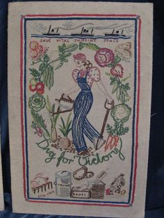 Stitched objects: WWII Dig for Victory embroidered typography, poster