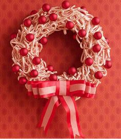 Candy Canes & Bobbles #Peppermint Christmas Wreath ~ See more red & white #Christmas #Wreaths here http://wp.me/p1N64P-zP