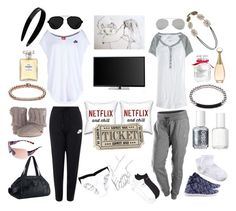 """""""Perfectly comfortable cozy fit!"""" by maggie-m-smith ❤ liked on Polyvore featuring moda, Muk Luks, Under Armour, NIKE, Essie, Chanel, Victoria's Secret, Aéropostale, Forever 21 y France Luxe"""