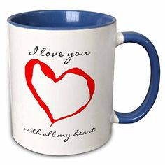 3dRose Patricia Sanders Creations  I love You Heart  11oz TwoTone Blue Mug mug_26154_6 ** See this great product. (This is an affiliate link)