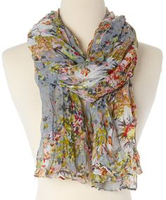 Look what I found on #zulily! Light Gray Floral Monet Scarf #zulilyfinds