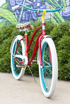 Cue Villey custom cruiser bicycles. I love the bright fun colors! Saw them on the show Shark Tank.