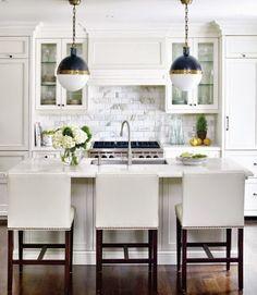 white kitchen // hicks pendants
