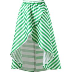 Mint 2xl Striped High Low Skirt ($14) ❤ liked on Polyvore featuring skirts, striped skirts, short front long back skirt, mullet skirt, high low skirt and green hi low skirt