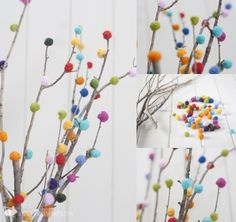 Ramas decoradas con lana fieltrable y mini jardín