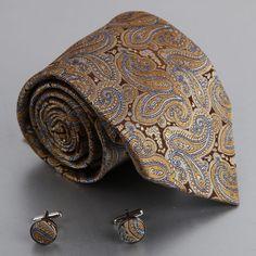 Amazon.com: Brown Pattern Silk Ties For Men Goldenrod Paisleys Mens Gifts Formalwear Silk Necktie Cuff Set A2018: Clothing