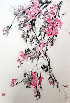 Ella Saridi - Weeping Cherry 2  Japanese Ink Painting by Suibokuga on Etsy