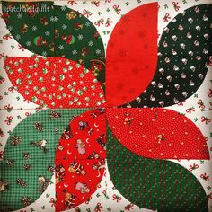 Drunkard's Path poinsettia block by ipatchandquilt, for the 2015 Quilt Along by Springleaf Studios