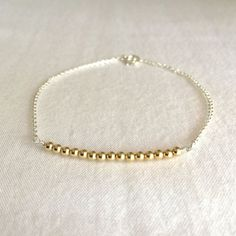 Dainty 14K Gold Filled Beads on Sterling Silver by StampedSchmuck
