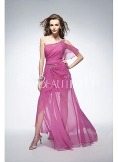 Pink One-Shoulder Natural Floor-length Sheer Chiffon Prom Dress With Flouncing And Beading