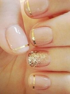 Image via Nail Designs for Short Nails Gold Glitter. Image via Black and gold glitter nail art for dinner at a restaurant. Image via Beautiful golden manicure with glitter. Hair And Nails, My Nails, Prom Nails, Band Nails, Homecoming Nails, Vegas Nails, Nails Today, Nail Art Noel, Nailed It