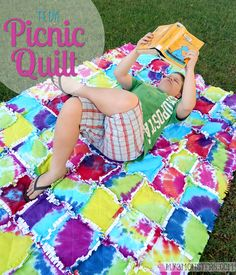 Tie Dye Picnic Quilt at my3monsters.com #tiedyeyoursummer #tdys