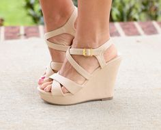 """So cute and versatile! Our Cross Our Heart Wedges run true to size and feature a 4.5"""" wedge. With the 1.5"""" platform, these are surprisingly comfortable and is the perfect finishing touch to any outfit"""