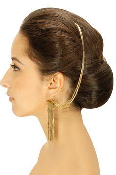 Gold plated chain fringe earrings by Ritika Sachdeva. Shop now: http://www.perniaspopupshop.com/designers/ritika-sachdeva #earrings #ritikasachdeva #shopnow #perniaspopupshop