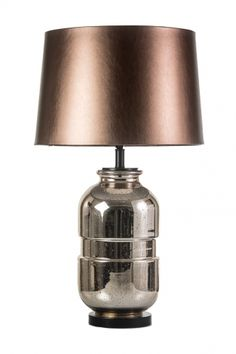 LLT Mendes Copper Table Lamp - Black Chrome / Rose Gold Mercury Glass Base, Copper Faux Leather Round Tapered Shade  Lights and Lamps Decorative Lighting - New Releases 2016