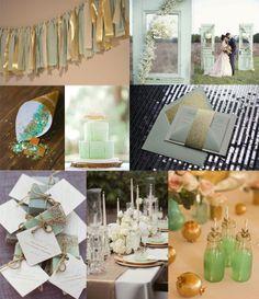 Idées déco mariage doré et vert menthe à l'eau